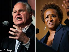 Conservative talk radio host Rush Limbaugh (L) and comedian Wanda Sykes (R).