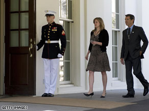 Pierce Brosnan arrives at the White House.
