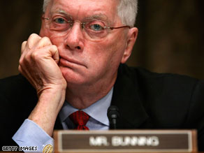 Jim Bunning today called Senate Minority Leader Mitch McConnell a 'control freak.'