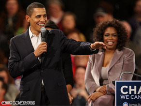 President Obama, pictured here in a 2007 file photo, joined his friend and supporter Orpah Winfrey on Forbes' 2009 list of the top 100 celebrities