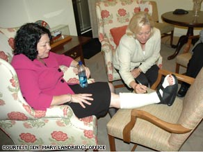 Sen. Mary Landrieu, D-Louisiana, signed the nominee's cast during her meeting with Sotomayor.