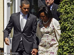 The Obamas attended Easter services at a church near the White House but have not settled on a new church in the Washington area.