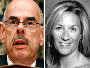 Democratic Rep. Henry Waxman (L) chairman of the Young Republicans, Audra Shay (R).
