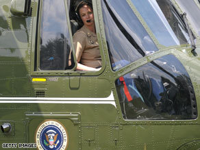 Major Jennifer Grieves is the first Marine One female pilot.