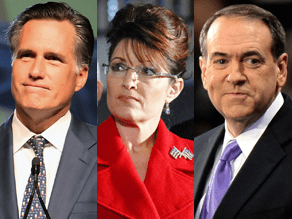 Mitt Romney, Sarah Palin and Mike Huckabee appear to be locked in a three-way race for the 2012 Republican presidential nomination.