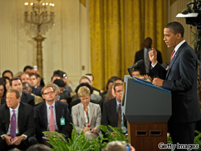President Barack Obama delivers remarks on health care during a prime-time press conference from the East Room of the White House July 22, 2009, in Washington, DC.