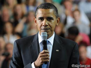 President Obama speaks at a town hall meeting August 11, 2009 in Portsmouth, New Hampshire.