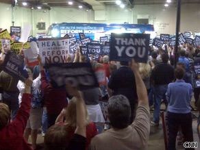 A crowd in the thousands attends an Organizing for America rally on health insurance reform in Columbus, Ohio on September 1, 2009.