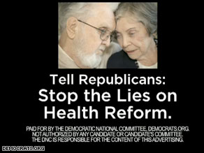 National Democrats new TV ad is aimed at trying to convince senior citizens that Republicans are perpetuating falsehoods about President Obama's efforts to reform health care.
