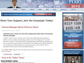 The Perry's campaign Web site that was hacked earlier today.