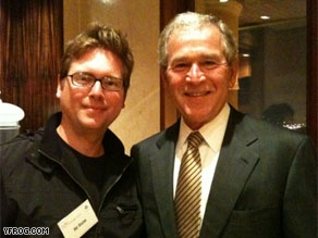 George W. Bush meets with Twitter co-founder Biz Stone.