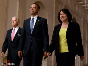 The White House tightly managed Sotomayor's nomination, including which suit she wore at her nomination ceremony.