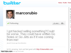 Marco Rubio's Twitter account, which was hacked today.