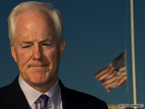 The flag flew at half-staff as Texas Sen. John Cornyn made remarks Friday about the shootings at Fort Hood in his state.