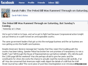 Palin is again saying the new health care bill will establish 'death panels.'