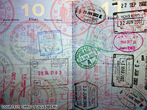 Stamps on one of Chris Guillebeau's passports.