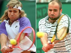 Andre Agassi wearing a wig at the Men's French Open finals on June 9, 1991 and four years later during a third-round match on June 2, 1995 in Paris.