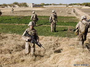 US Marines search for improvised explosive devices (IEDs) in Helmand Province in Afghanistan