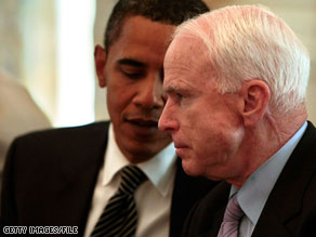John McCain says President Obama is leading a 'crusade to bankrupt America,' in a new radio ad.