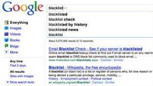 Which words does Google Instant blacklist?