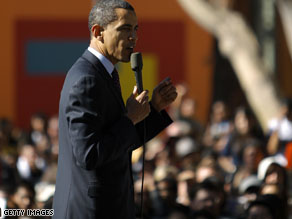 President Obama addresses a Latino Town Hall meeting while campaigning in 2008.
