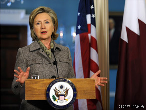 Secretary Clinton held a press conference at the State Department Monday in Washington.