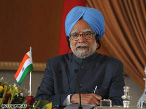 A third person who was not invited to President Obama's Nov. 24 state dinner entered with the delegation of Indian Prime Minister Manmohan Singh, pictured.