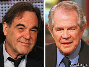 Filmmaker Oliver Stone and televangelist Pat Robertson.