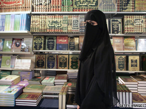A woman is seen here wearing a niqab.