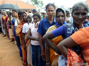 Long lines greet voters in Sri Lanka.