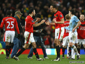 Manchester United celebrate their win over rival Manchester City.