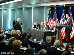 President Obama met Wednesday with Senate Democrats.