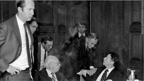 Haig, second from right, and other senior White House staffers meet after the attempt on Reagan's life. At left is David Gergen.