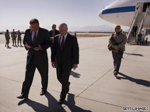 U.S. Defense Secretary Robert Gates, right, talks with U.S. Ambassador to Afghanistan Karl Eikenberry in Kabul Monday.