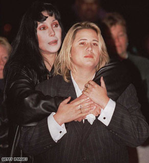 Actress and singer Cher comforts her daughter Chastity Bono during a rally for 'National Coming Out Day' in 1996. Chastity started the transition to Chaz about 1 year ago.