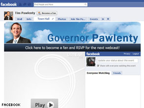 Gov. Pawlenty will appear on this page Wednesday for his Facebook Town Hall.