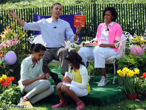 Michelle Obama limits the amount of time the first family spends online, she said Wednesday in an interview with CNN.