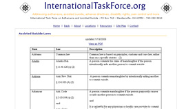 InternationalTaskForce.org's website detailing physician-assisted suicide laws by state.