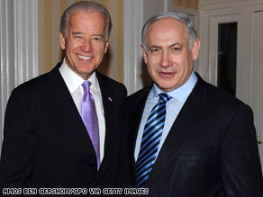 Israeli Prime Minister Benjamin Netanyahu with VP Joe Biden in March. Netanyahu met with Pres. Obama later that day.