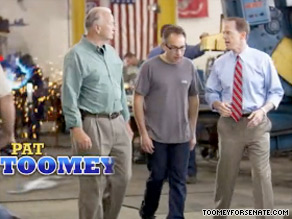 Pat Toomey is up with his first television ad.