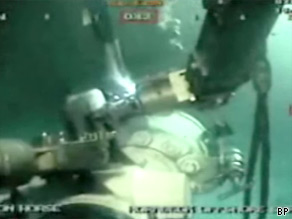 This is the most revealing image we've seen so far of the actual site where oil is leaking into the Gulf of Mexico.