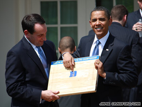 President Obama with Duke men's basketball coach Mike Krzyzewski.