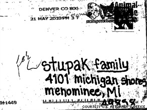 The envelope that contained a threatening letter addressed to Michigan Rep. Bart Stupak.