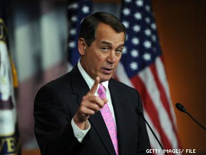 House minority leader John Boehner is stepping up criticism of his Democratic colleagues.