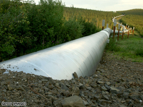 A buried section of the 800 mile Trans-Alaska Pipeline carries crude oil from Prudhoe Bay to the ice free port of Valdez, Alaska.