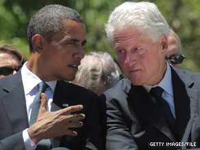 According to a White House official, President Obama hosted a meeting with Bill Clinton and business leaders at the White House on Wednesday.