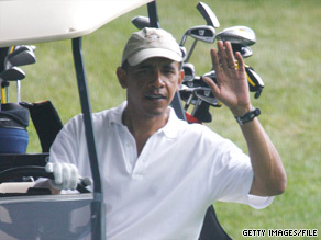 During his time in Martha's Vineyard last year, the president enjoyed some golfing.