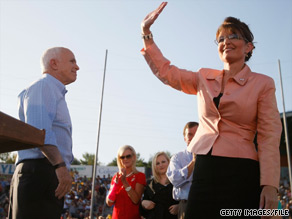 Sarah Palin on the campaign trail with the McCain family in 2008.
