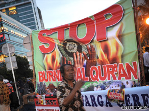 Indonesian Muslims protest in Jakarta on Wednesday about a planned Quran burning event in Florida, U.S. on September 11.