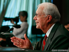 Former President Jimmy Carter blamed the late Sen. Ted Kennedy for delaying the passage health care legislation.